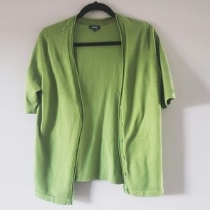 Women's Olive Green Button Short Sleeve Cardigan